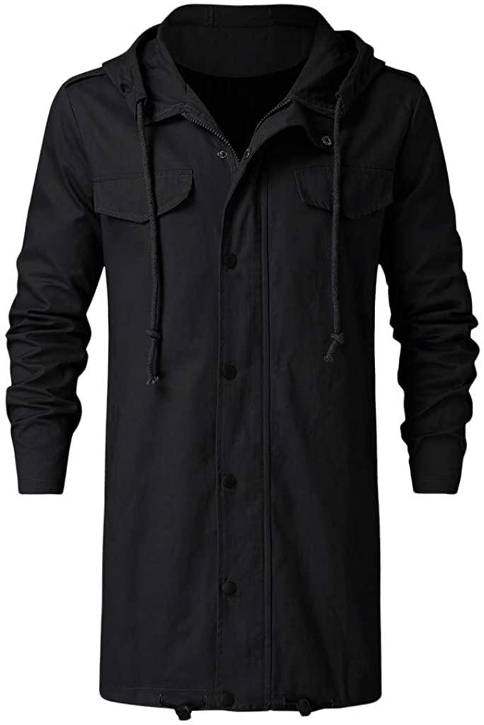 djdjdj Men's Coats Winter Polyester Men's Winter Designer Solid Color Zipper Hoodie Solid Jackets Coat