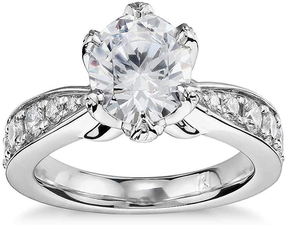 Trendzjewels Elegant Created Round Cut Diamond 925 Sterling Silver Ring 14K White Gold Finish Engagement Ring for Womens & Girls