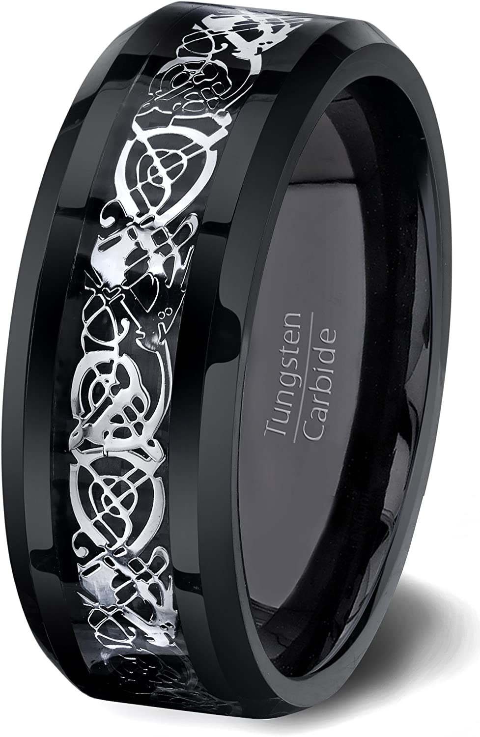 Duke Collections Mens Wedding Band Black Tungsten Ring High Polished Celtic Dragon Design Beveled Edge 8mm Comfort Fit