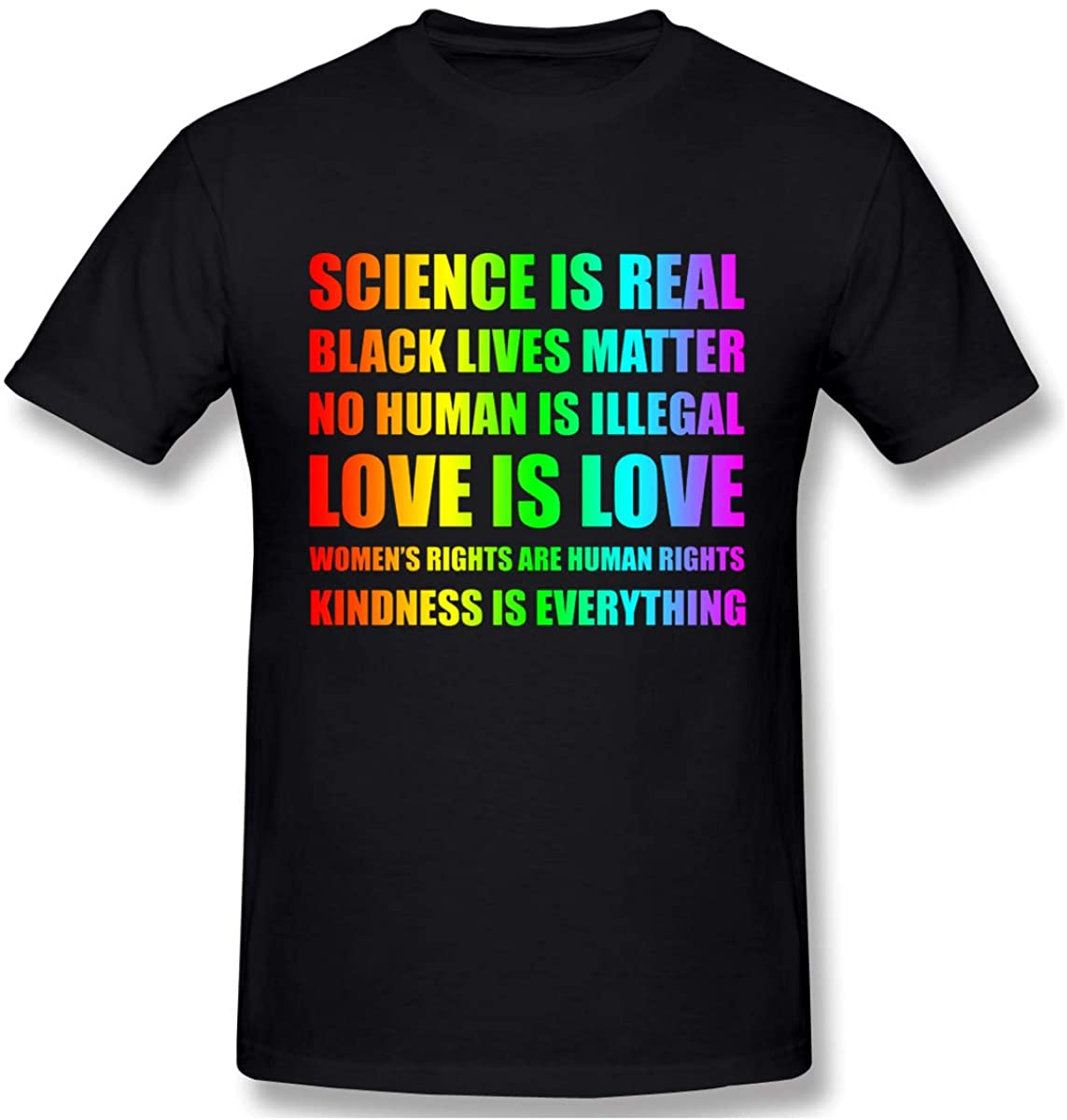Science is Real Black Lives Matter Love is Love Men's Athletic Short Sleeve T-Shirt Cotton Tee