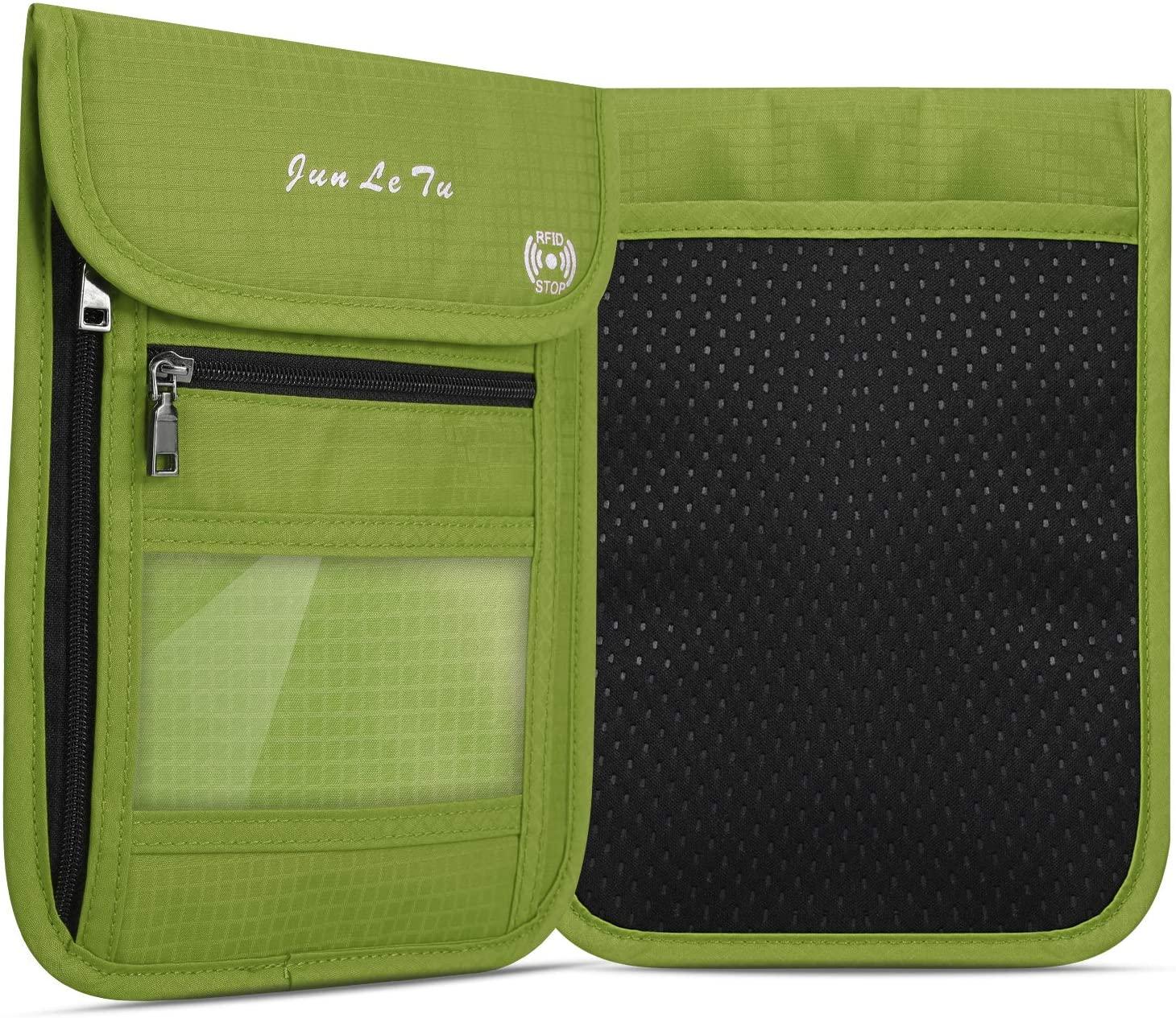RFID Blocking Travel Passport Holder Concealed Travel Neck Pouch Wallet for Men & Women (Green)