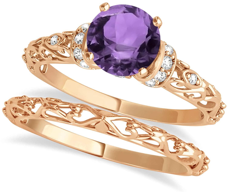 14k Gold (1.12ct) Alexandrite and Diamond Antique-Style Bridal Set
