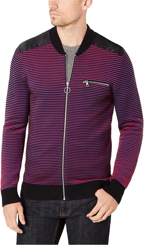 I-N-C Mens Layered Stripes Knit Sweater