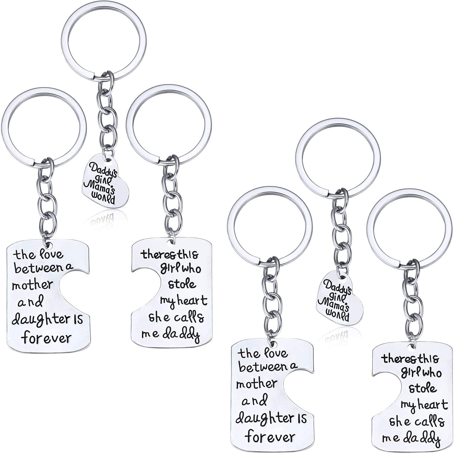 Tatuo 2 Pack Family Key Chain Set Mom Dad and Daughter Pendant Keychain Jewelry Gift for Mother Father Birthday or Valentine's Day Present