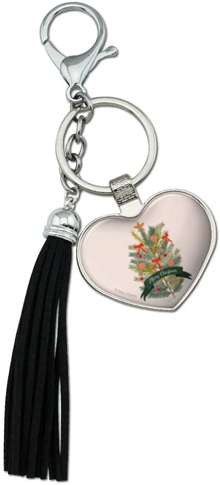 Graphics and More Merry Christmas Decorated Pine Tree Chrome Plated Metal Heart Leather Tassel Keychain