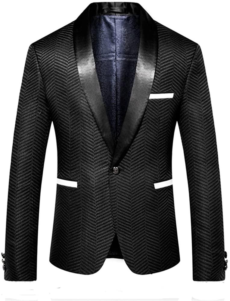 MOGU Mens Black Blazer Slim Fit Stylish Shawl Lapel Suit Jacket