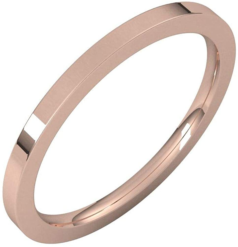 Solid 18K Rose Gold 1.5mm Flat Comfort Fit Wedding Band Size 8