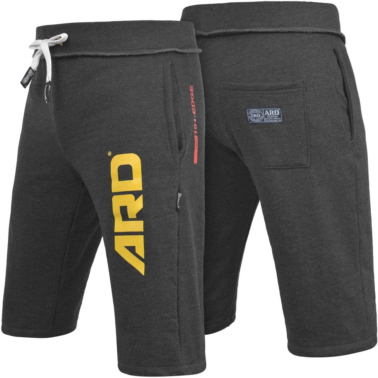 ARD CHAMPS Mens Cotton Fleece Shorts Jogging Casual Home Wear MMA Boxing Martial Art Jogger (S-XXL) (Charcoal, Small)