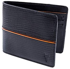 BlackBuck Genuine Leather Men's Black/Org Wallet (Black/Org- 61002)
