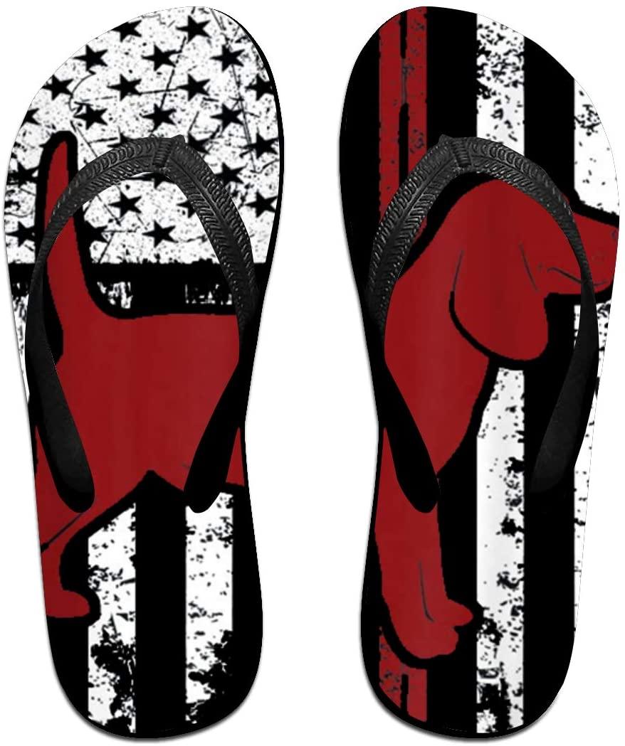 JINYOUR Dog Beagle American Flag Unisex Flip Flops Summer Slippers Shoes Beach Sandal