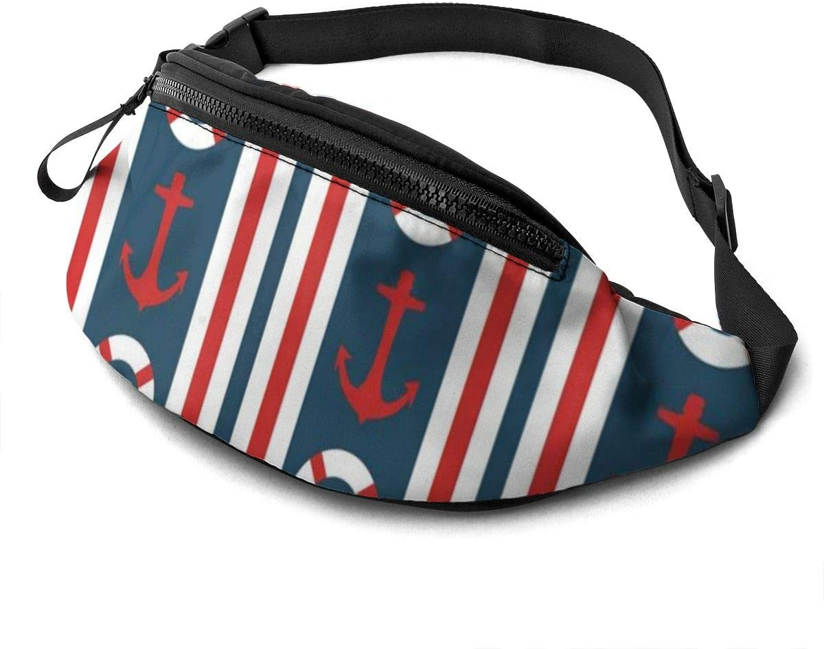Stripes Maritime Theme Fanny Pack for Men Women Waist Pack Bag with Headphone Jack and Zipper Pockets Adjustable Straps