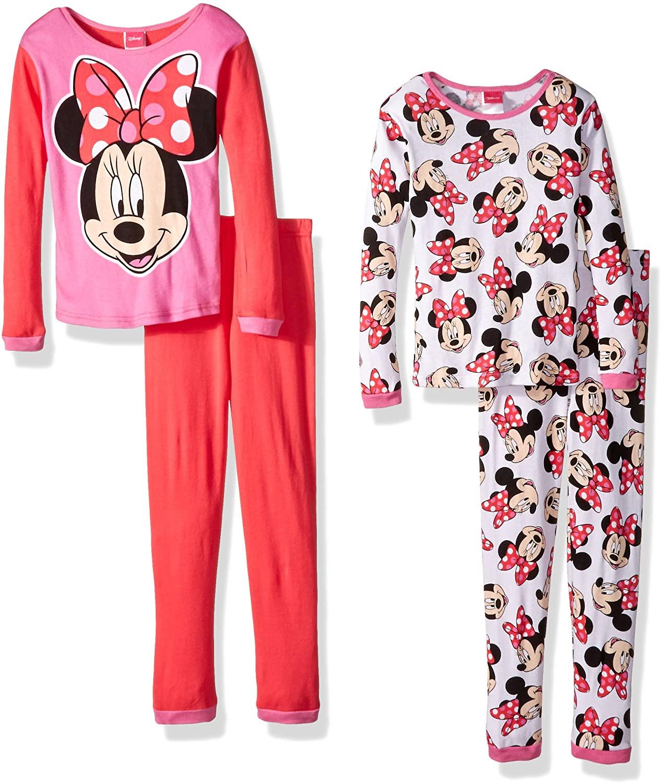Disney Girls' Minnie Mouse 4-Piece Pajama Set