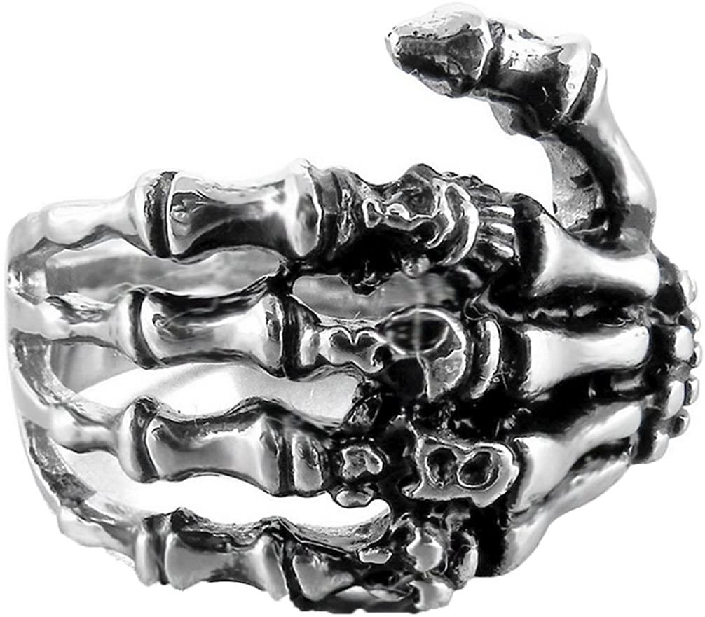 FIBO STEEL Stainless Steel Skull Rings for Men Women Vintage Gothic Ring Biker,Size 7-14