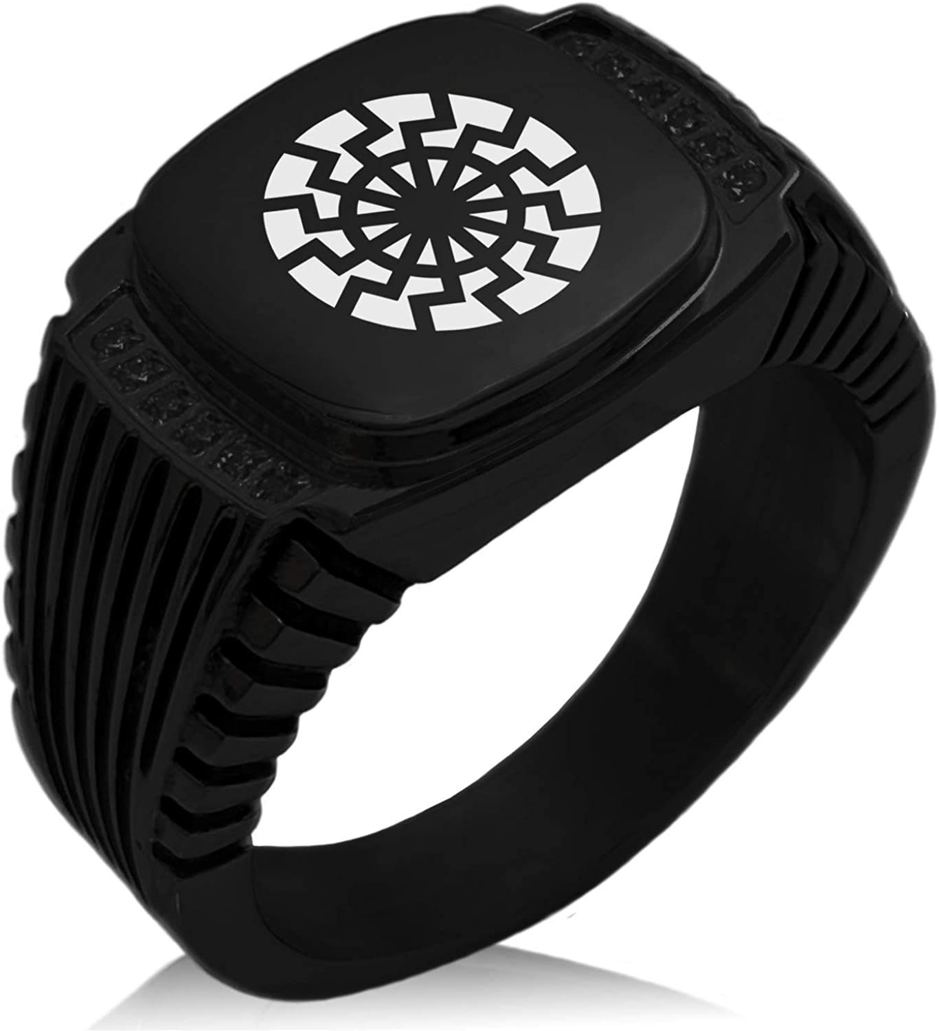 Tioneer Stainless Steel Necromancer Emblem CZ Ribbed Needle Stripe Pattern Biker Style Polished Ring
