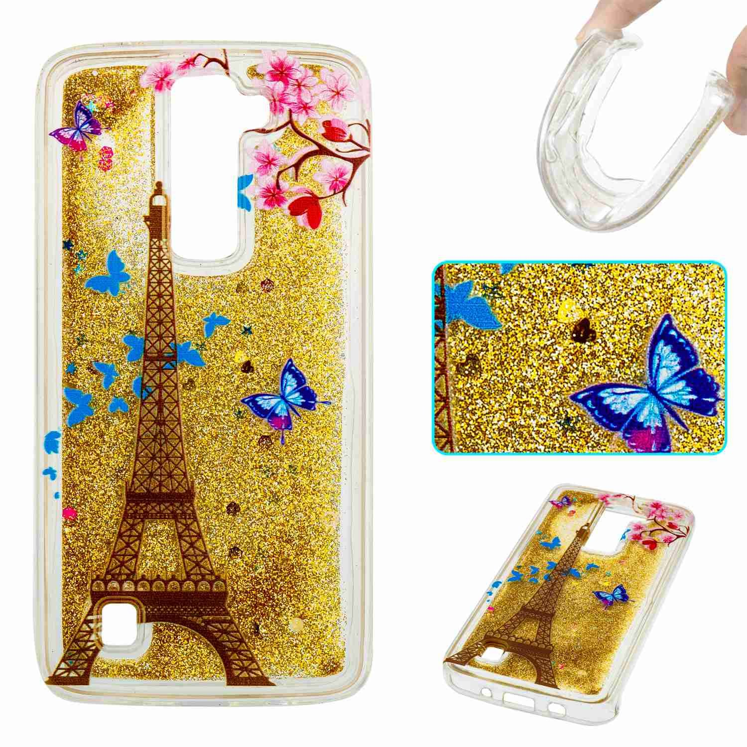 STENES LG K8 Case, 3D Luxury Bling Glitter Sparkle Liquid Case Infused Glitter Stars Moving Quicksand Soft Case For LG Phoenix 2 /Escape 3 /LG K8 (2016) - Gold Eiffel Tower Butterfly Flowers
