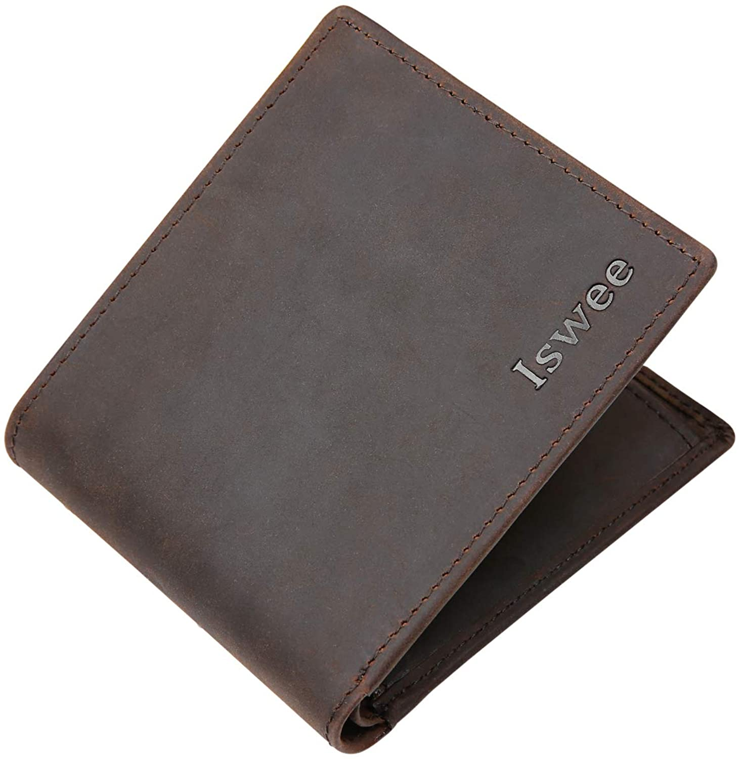 On Clearance Sale Iswee Wallets For Men RFID Blocking With ID Window RFID Blocking Leather Trifold Wallets