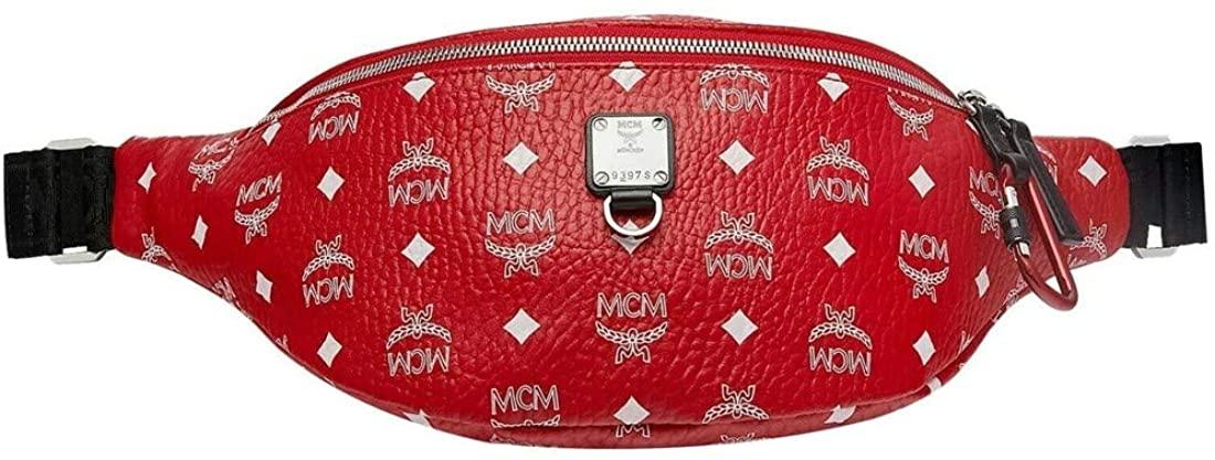 MCM Men's Viva Red Coated Canvas White Logo Print Medium Belt Bag MUZ9SFI07AV001