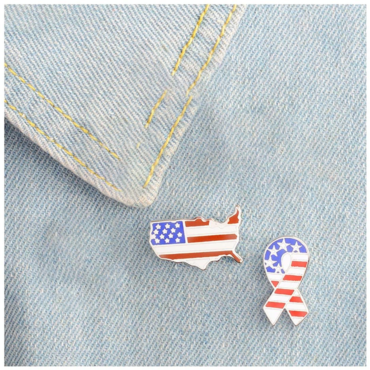 MIXIA 2pcs/Set National Flags Enamel Pin American USA Flag Brooch Pins Set Clothes Collar Pin Badge Jewelry Gifts