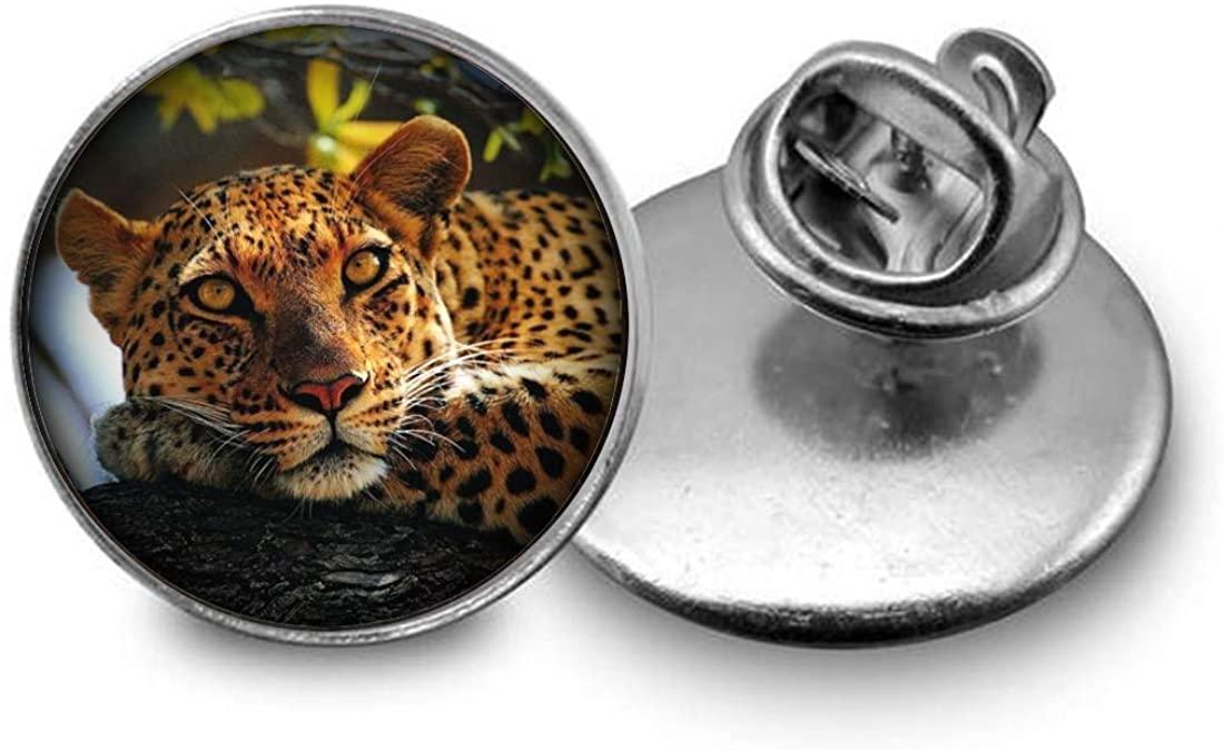 Hobbs Cheetah Collar pin, Dome Collar pin Art Glass Collar pin, Creative Picture Collar pin