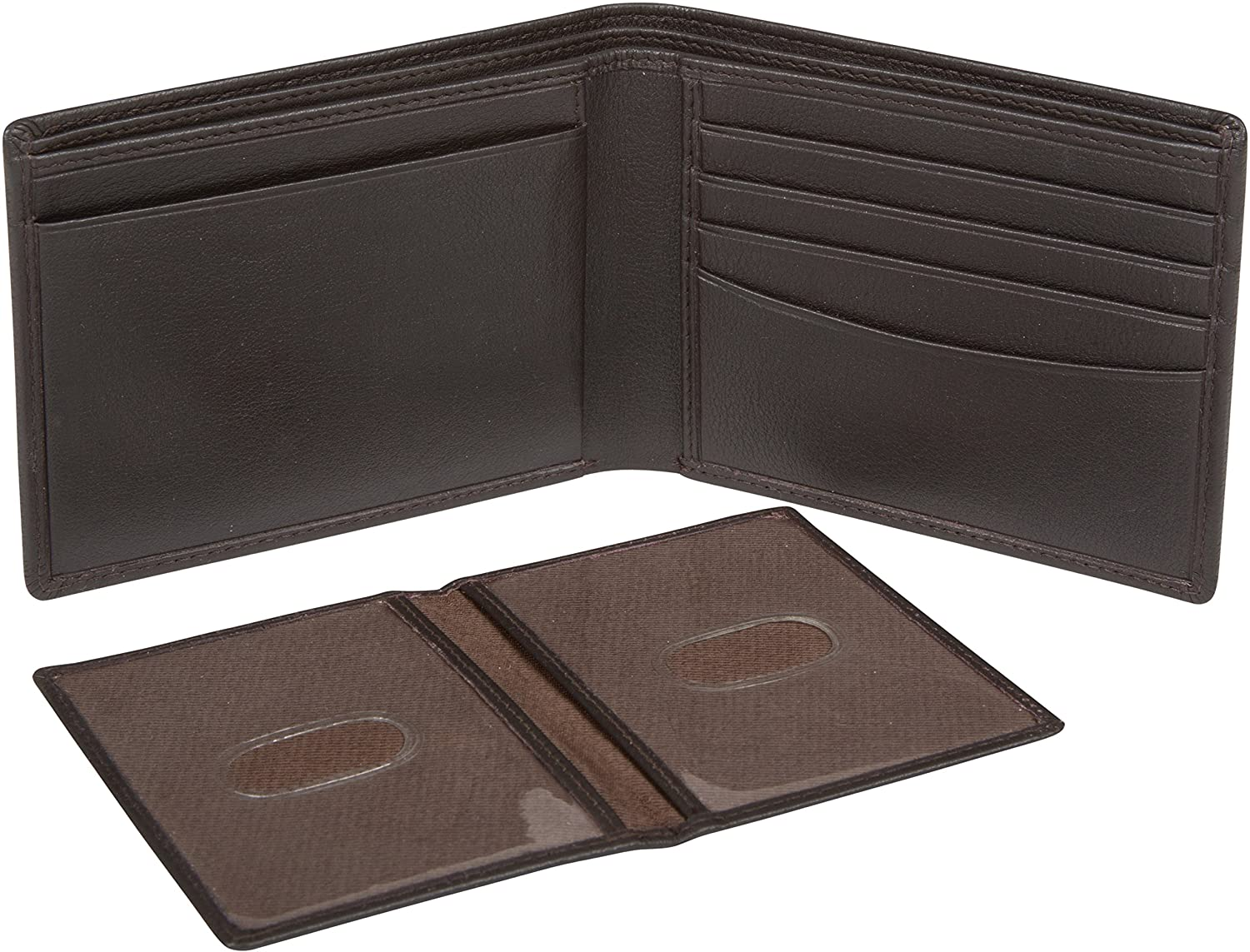 Sakkas Men's Bi-Fold Leather Wallet with Removable ID Case - Comes in a Gift bag