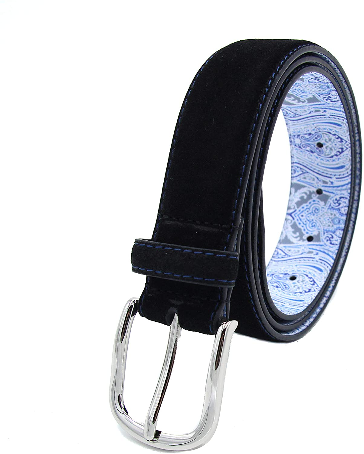 """Robert Graham Men's Slim Silver Buckle Bright Contrast Top Stitch & Belt Holes, """"Bewitched"""" Blue Paisley Printed Lining"""