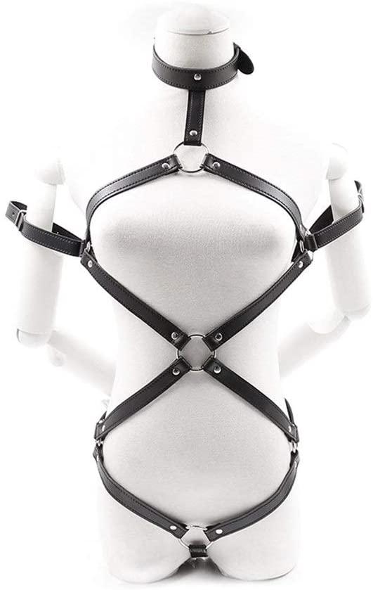 QYXJJ Women Body Harness Leather Garter Belt Punk Gothic Thigh Ring Waist Cage Cosplay Party Costume Bodysuit Outfit Leg Belts Fashion Rave A9OA-109 b.d.š-ṃ bô.ňd.áģê