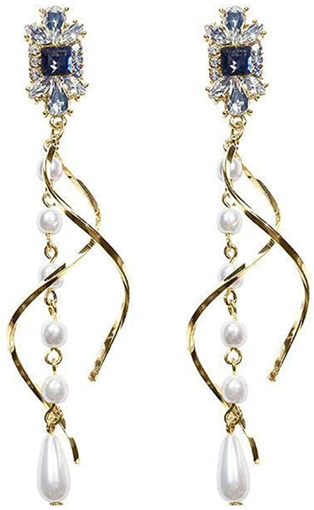 Durable and Easy to Match,Fashion and Vintage Earrings for Women,Lady Faux Pearl Rhinestone Twisted Long Tassel Dangle Ear Stud Earrings Jewelry - Golden