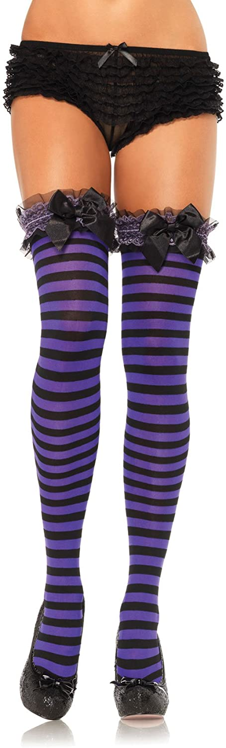 Leg Avenue Garter Top Opaque Striped Thigh Highs with Satin Bow Accent, One Size, Black/Purple