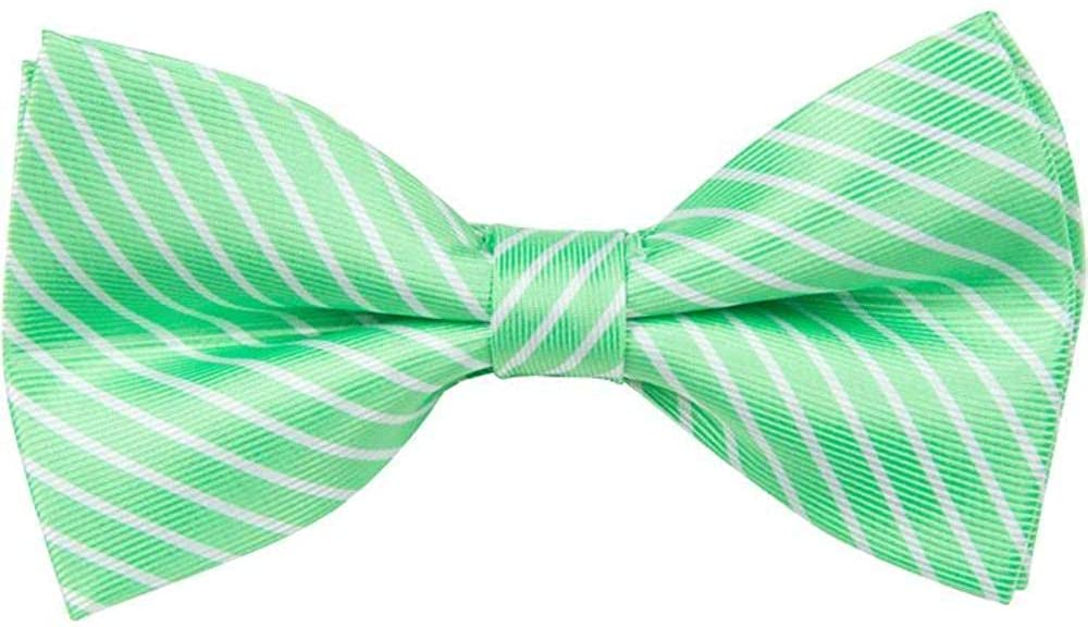 The Matching Tie Guy Men/Boys Microfiber Green/White Stripe Bowtie Available in All Sizes and Adult 59 Inch Necktie BT5