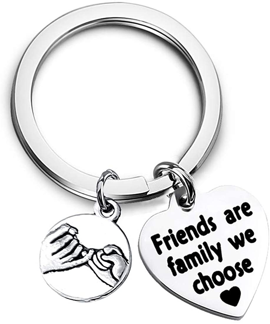Best Friend Keychain Friends are The Family We Choose Jewelry BFF Friendship Gifts