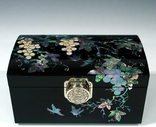 Mother of Pearl Grape Design Lacquered Black Luxury Wooden Asian Mirrored Jewelry Trinket Keepsake Treasure Box Ring Case Chest Organizer