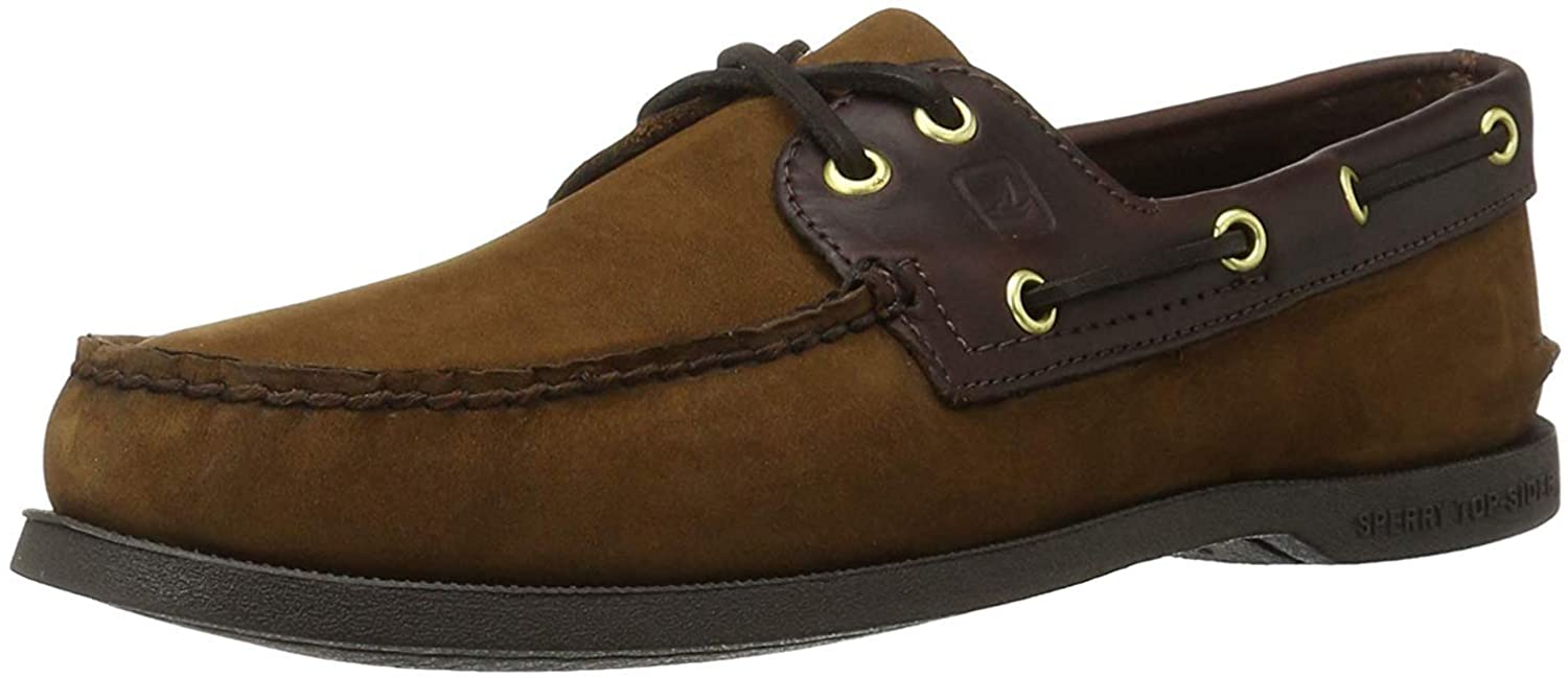 Sperry Mens Top Sider Mens's A/O Leather Closed Toe, Brown/BUC Brown, Size 12.0