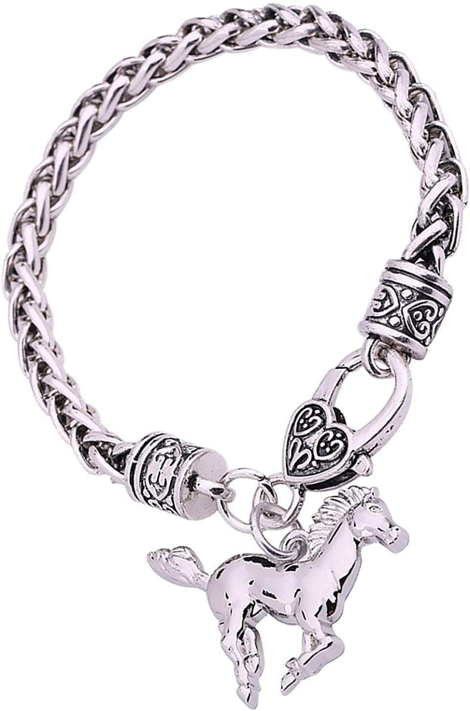 Lemegeton Antique Silver Heart Bracelet Character Engraved Pendant Wheat Chain for Women Girls Gift Jewelry