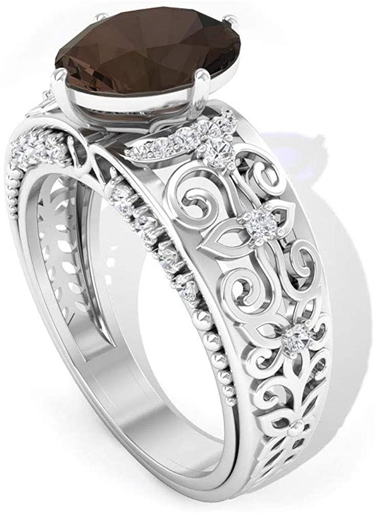 2.5 Ct Smoky Quartz Beaded Diamond IGI Certified Ring, 0.30 Ct Diamond IJ-SI Color Clarity Ring, Oval Shape Gemstone Wedding Ring, Filigree Gold Ring
