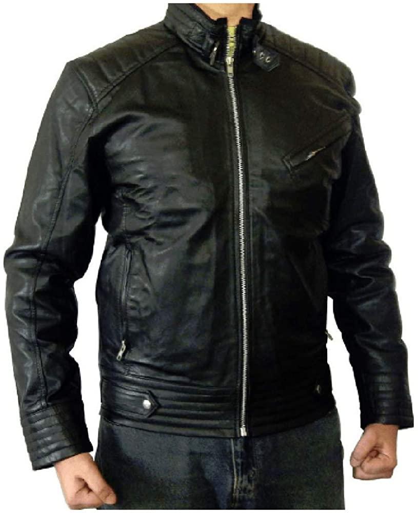 Mens Genuine Leather Biker Jacket Black   Vintage Black Lambskin Motorcycle Jackets for Men