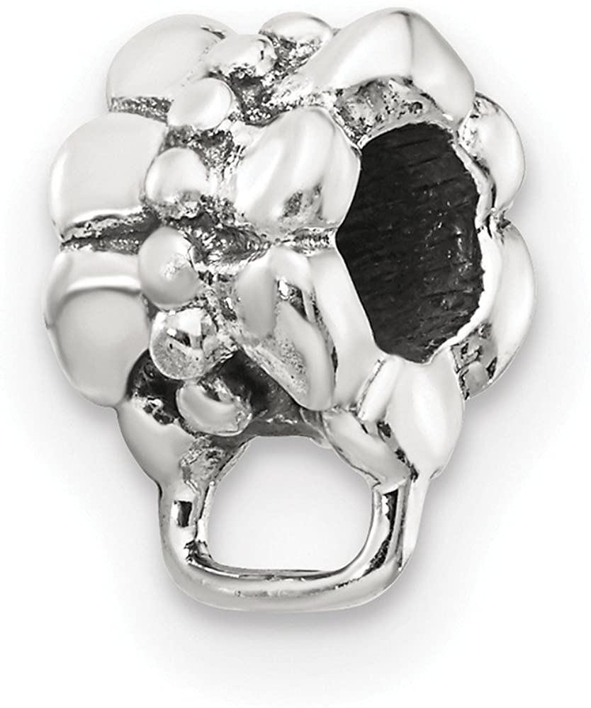 Bead Charm White Sterling Silver Themed 7.27 mm 6.36 Reflections Withloop For Click-On
