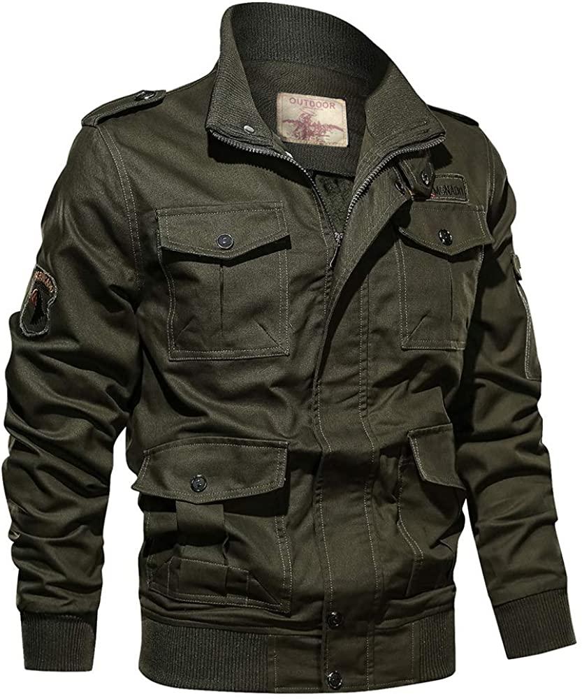 Uusollecy Mens Winter Sherpa Lined Military Jacket Lapel Windbreaker