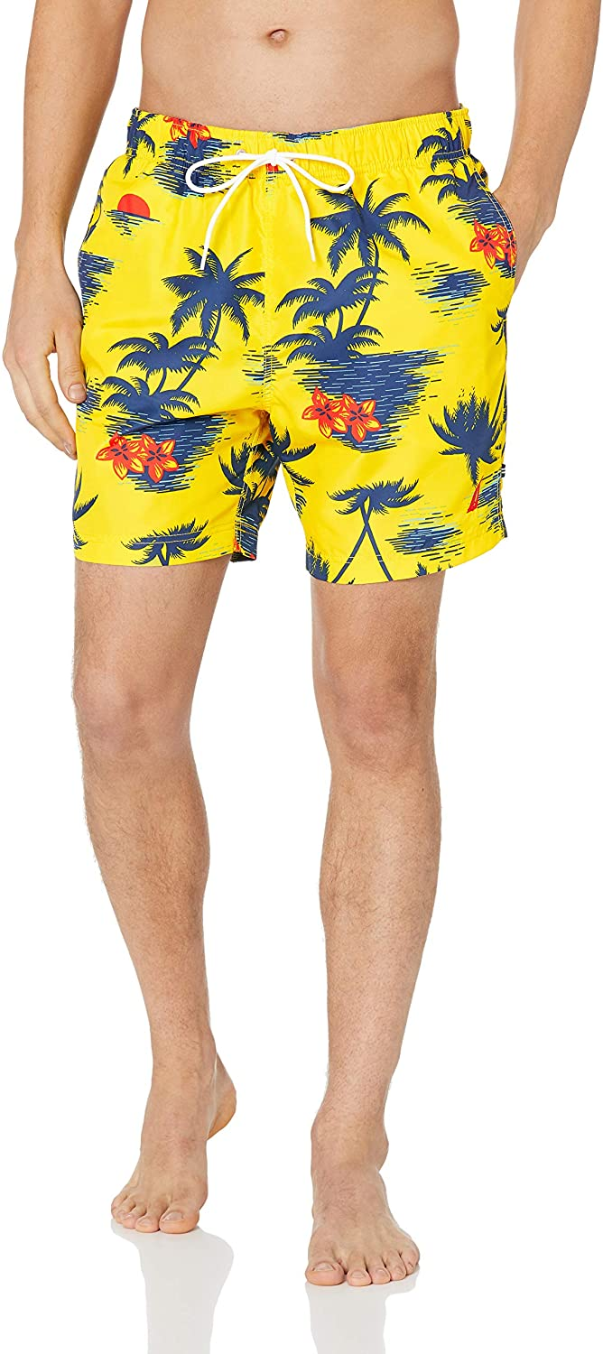 Nautica Men's Quick Dry Hawaiian Palm Print Full Elastic Swim Trunk