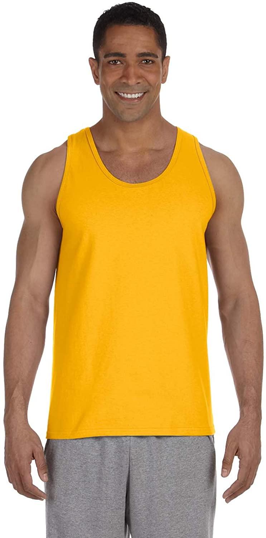 Gildan Men's Preshrunk Banded Bottom Hem Tank Top, Gold, XX-Large