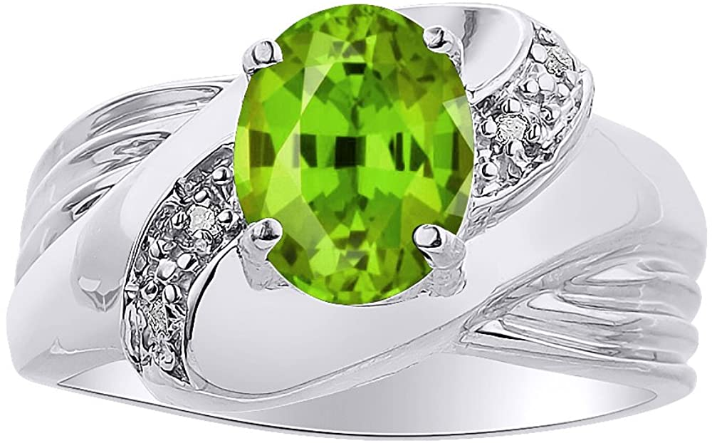 Diamond & Peridot Ring Set In Sterling Silver - Color Stone Birthstone Ring