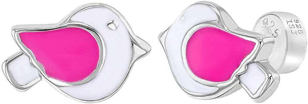 925 Sterling Silver Pink White Enamel Dove Bird Safety Back Earrings Girls