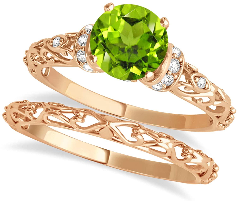 (0.87ct) 14k Rose Gold Peridot and Diamond Antique-Style Bridal Set