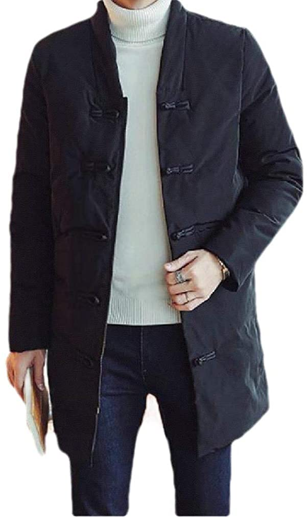 DressUMen Chinese Style Winter Plus-Size Solid Slim-Fit Parka Outwear Jacket
