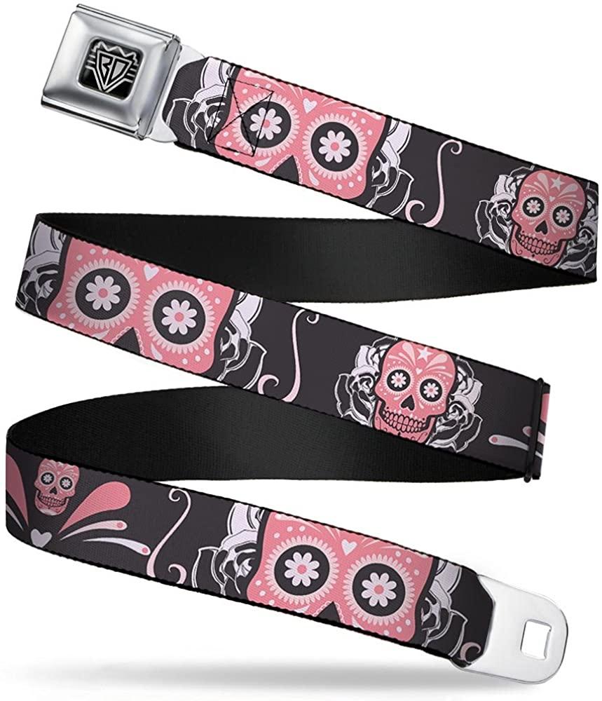 Buckle-Down Seatbelt Belt - Sugar Skulls Gray/Pink - 1.5
