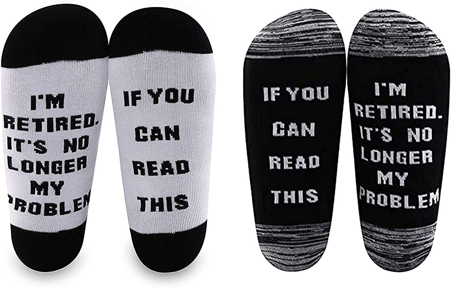 LEVLO Funny Retirement Gift Socks for Man If You Can Read This I'm Retired Socks for Husband Dad Uncle Grandpa