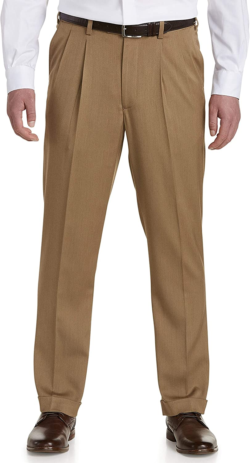 DXL Gold Series Big and Tall Pleated Pants; Unhemmed