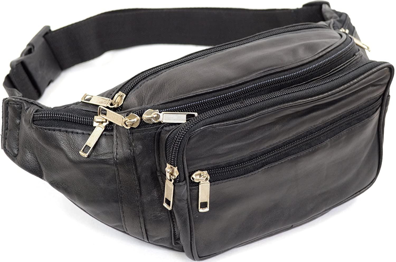 Unisex Soft Nappa Leather Fanny Pack/Waist Bag/Money Bag