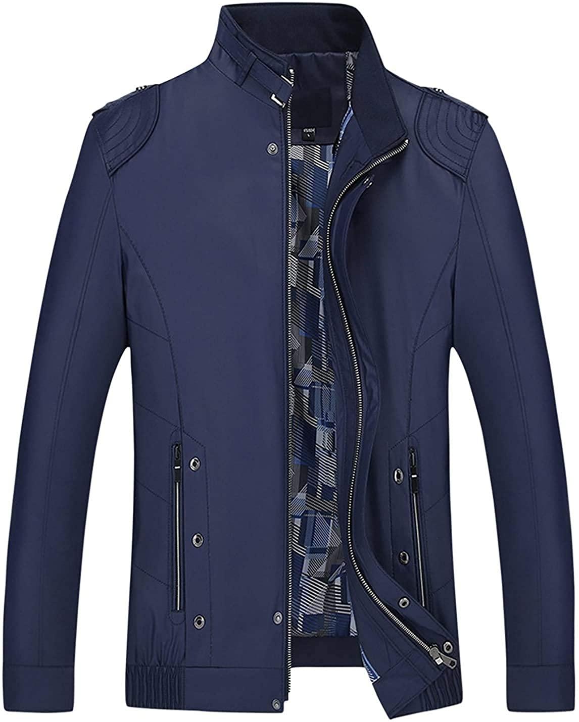 Gsdgjgg Mens Stand Collar Epaulet Zipper Outerwear Lightweight Jackets