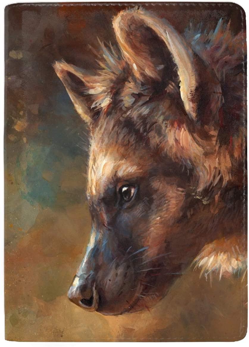 Leather Passport Cover - Holder - for Men & Women - Furry Animals Hyenas Digital Art Passport Case