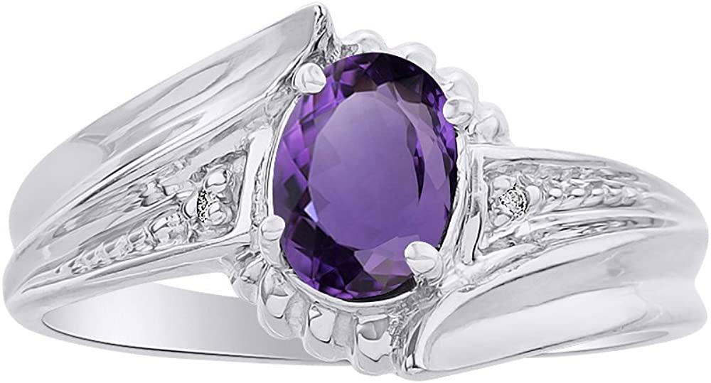 Diamond & Amethyst Ring Set In 14K White Gold - Color Stone Birthstone Ring